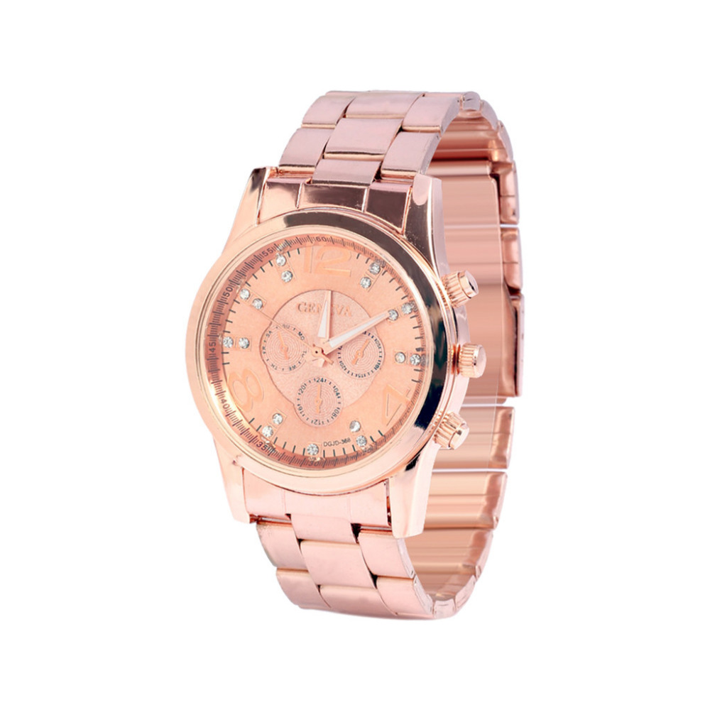 Classic Luxury Geneva Digital Watch Multicolor Business Rhinestone Design Quartz Wrist Watch Stainless Steel Belt Women Watch #W