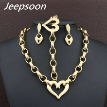 Hot selling Fashion Stainless Steel Heart Jewelry Plated Gold Gold Color Bracelet Necklace Earrings Sets For