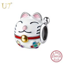 U7 925 Sterling Silver Lucky Cat Bead Big Hole Cute Enamel Charm Beads fit Bracelet Bangle Necklace for Women Christmas Gifts(China)