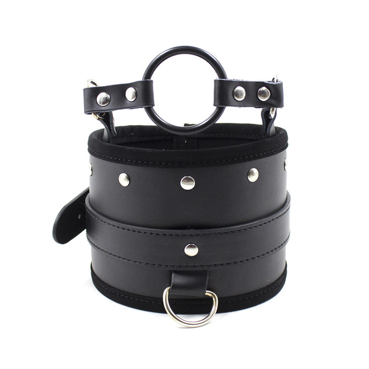 Buy Leather open mouth gag ring neck collar sex collar bdsm bondage fetish wear adult games slave toys sex toys couples