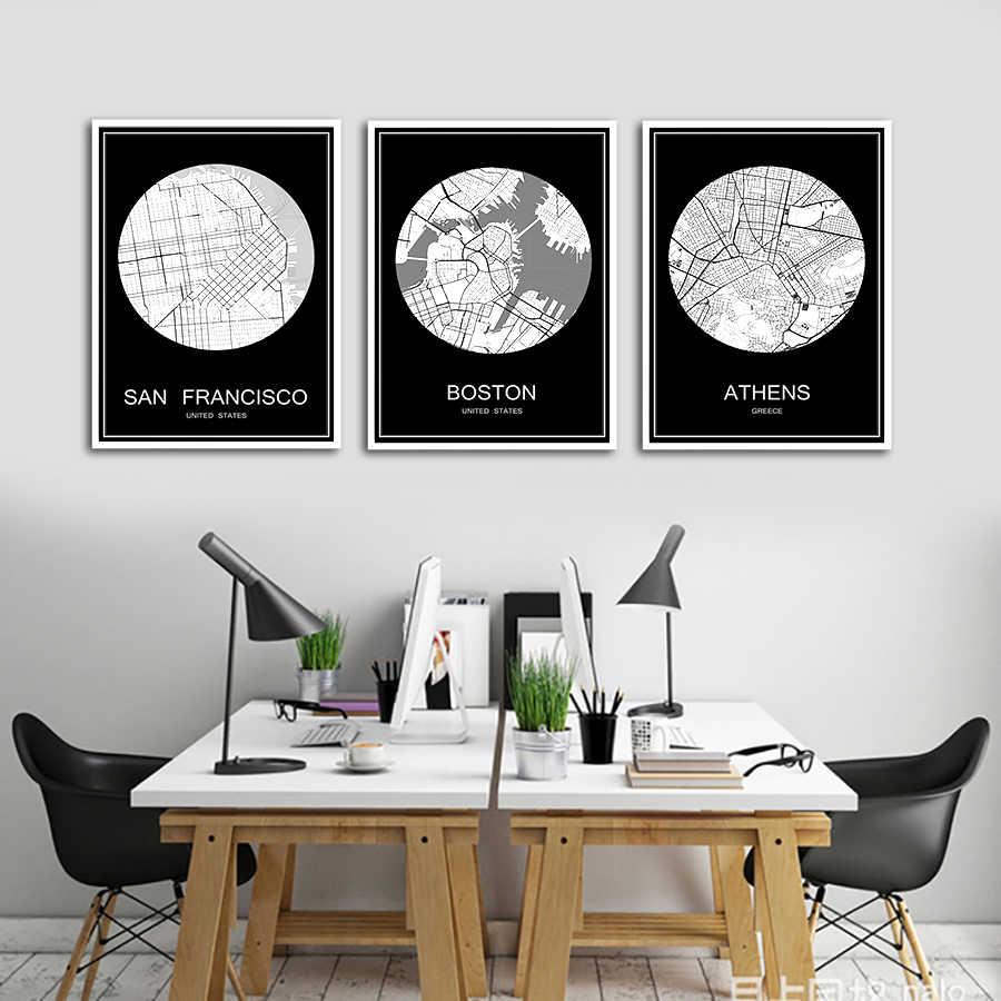 유명한 도시지도 bratislava slovak 인쇄 포스터 인쇄 용지 또는 캔버스 벽 스티커 바 펍 카페 거실 홈 장식