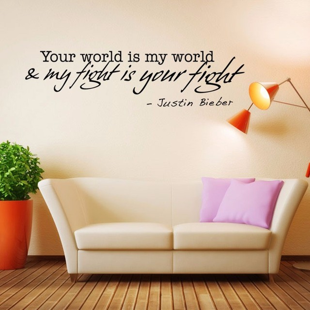 Aw9516 Justin Bieber Love Words Wall Decals Quote Decorations Living