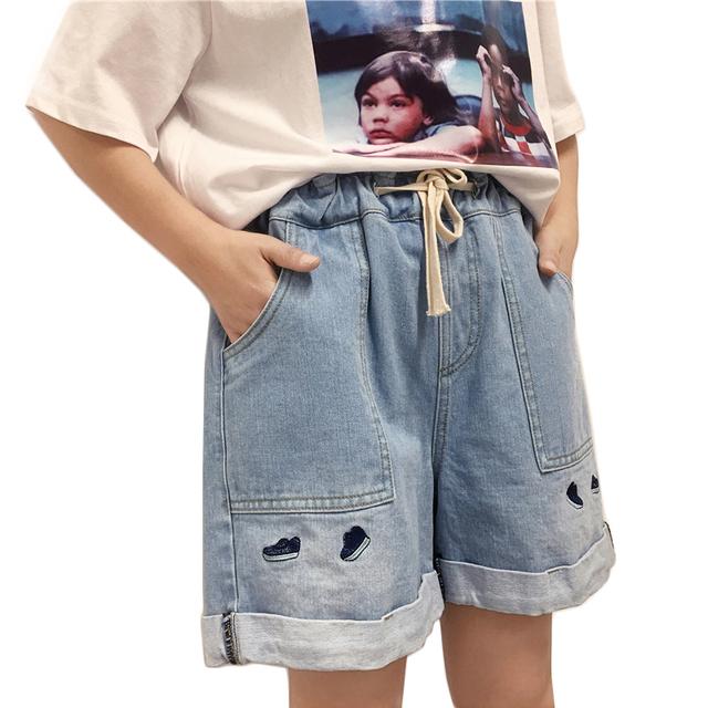 Alta Cintura elástica Cordón Pantalones Cortos de Mezclilla Para Las Mujeres Del Verano 2017 Nueva Moda Casual Bordado Flojo Harem Denim Jeans Cortos
