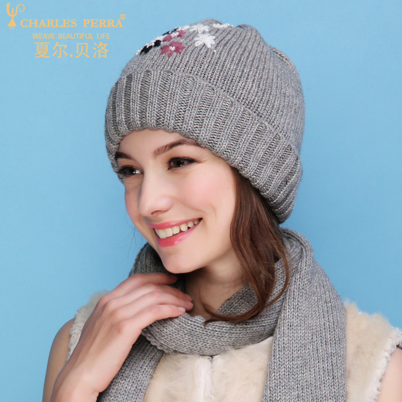 d616691a Charles Perra NEW Women Winter Hats Scarves Two Piece Sets Embroidery  Casual Elegant Lady Single Layer Knitted Hat 3322-in Scarf, Hat & Glove Sets  from ...