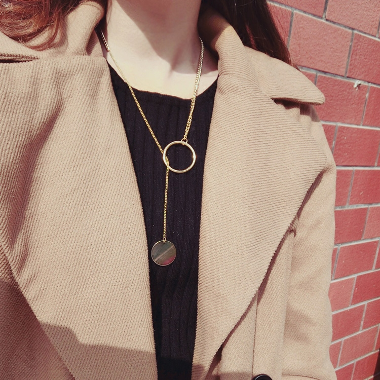 New Arrival Western Style All-match Personality Long Sweather Choker Nceklace For Women Pendant Circle Chain Necklace Accessory