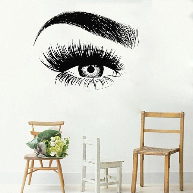 Autocollant mural en vinyle pour cils   Nouveau Design, autocollant mural pour cils sourcils Salon de beauté citation maquillage chambre de fille, LC138