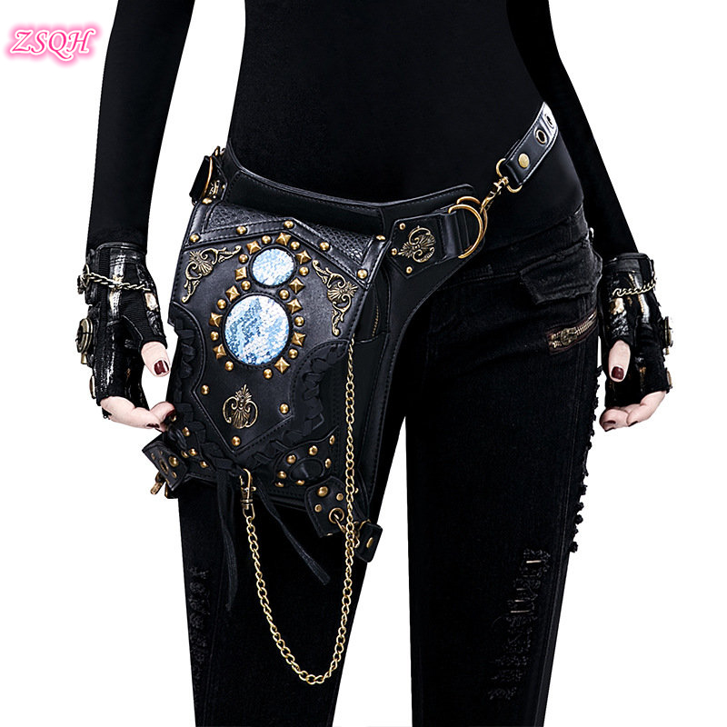 Steampunk Waist Bags Gothic Handbag Shoulder Bag Vintage Retro Rock Women Street Style Mini Motorcycle Leg Bag