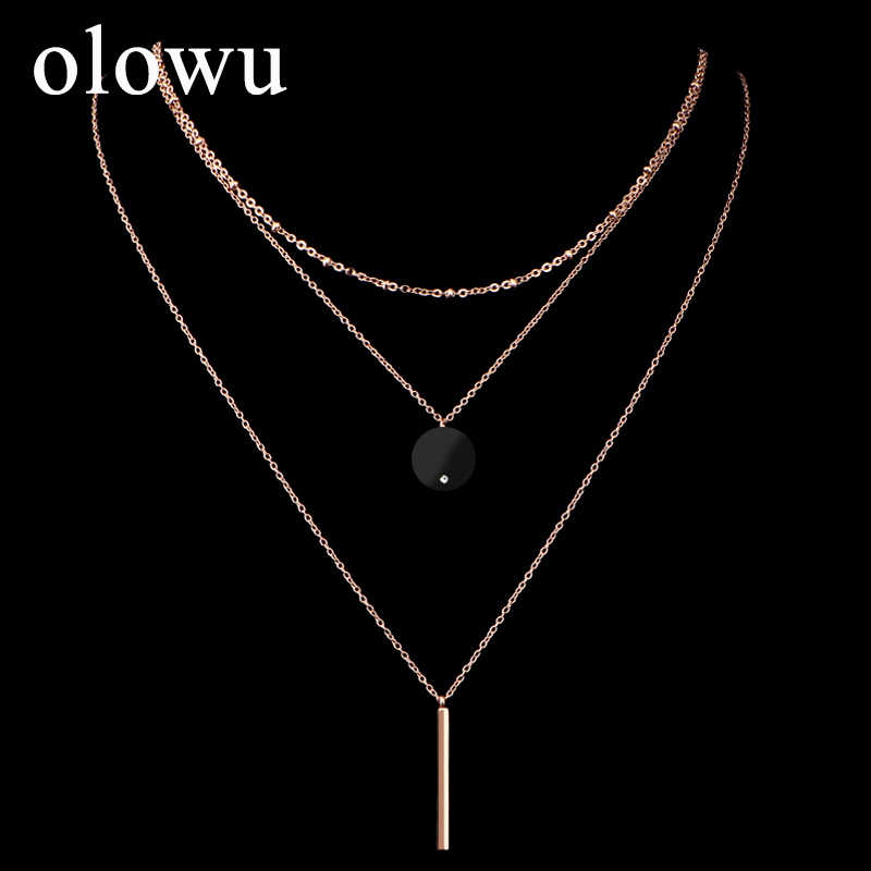 olowu Women Bohemian Style 3 Multi-Layer Choker Necklace Rose Gold Tone Round Black Pendant Necklace Stainless Steel Jewelry