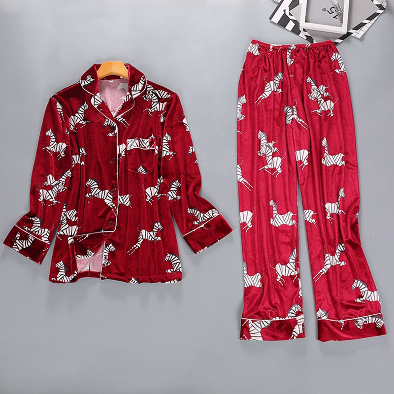 Smmoloa Autunno e Inverno Femminile Coreano Velluto Oro Dei Pigiami A due pezzi di Modo Delle Donne Degli Indumenti Da Notte - 5