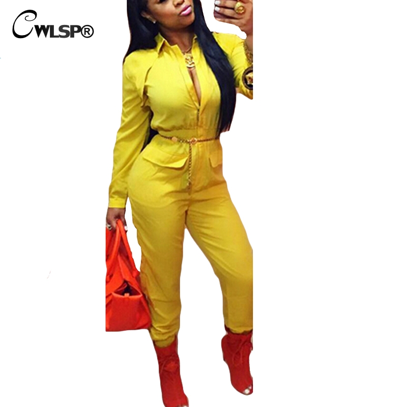 a6c50b5bb43 CWLSP Autumn Sexy Rompers Women Jumpsuit Turn down collar Long Sleeve  Overalls Pockets Zipper macacao feminino comprido