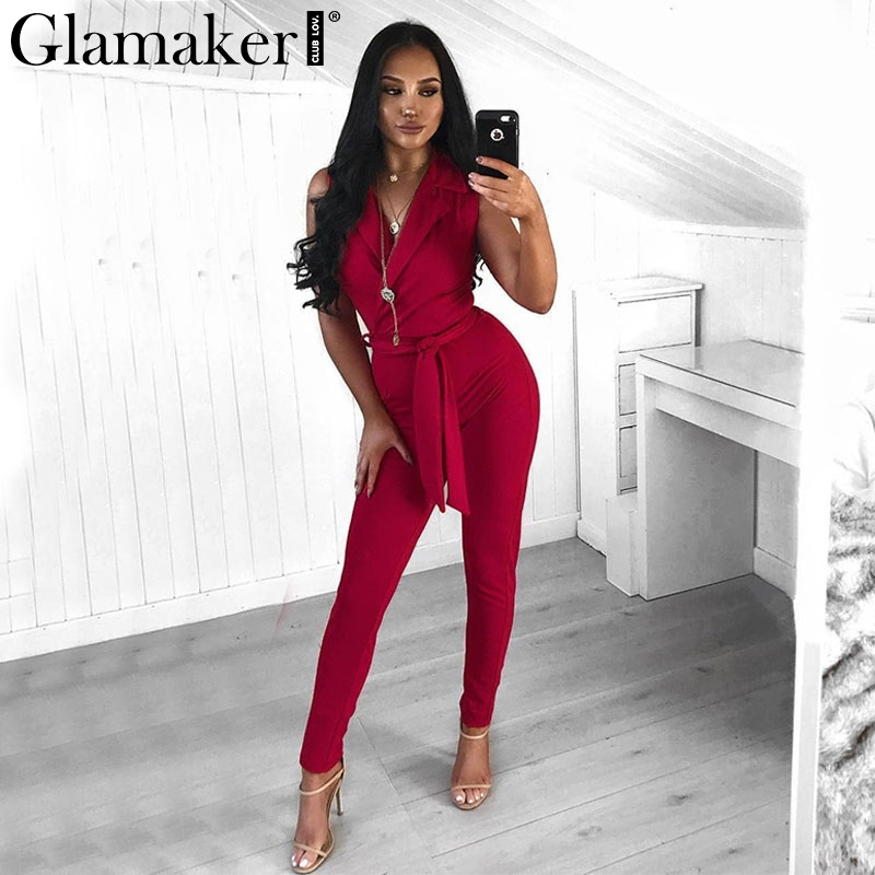 Glamaker Elegant sashes bow tie   jumpsuit   romper Women office suit sexy   jumpsuit   Sleeveless high waist winter   jumpsuit   overalls
