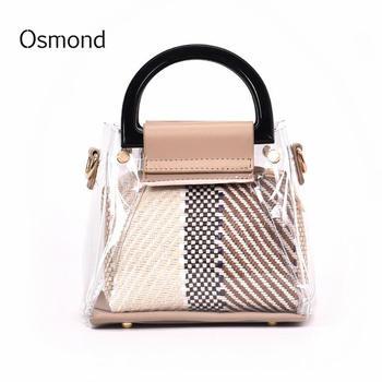 Osmond Bohemian Straw Bag Summer Beach pvc Clear Ring Chain Transparent Tote Small Handbag Shopping Satchels Designer Clutch алиэкспресс сумка прозрачная