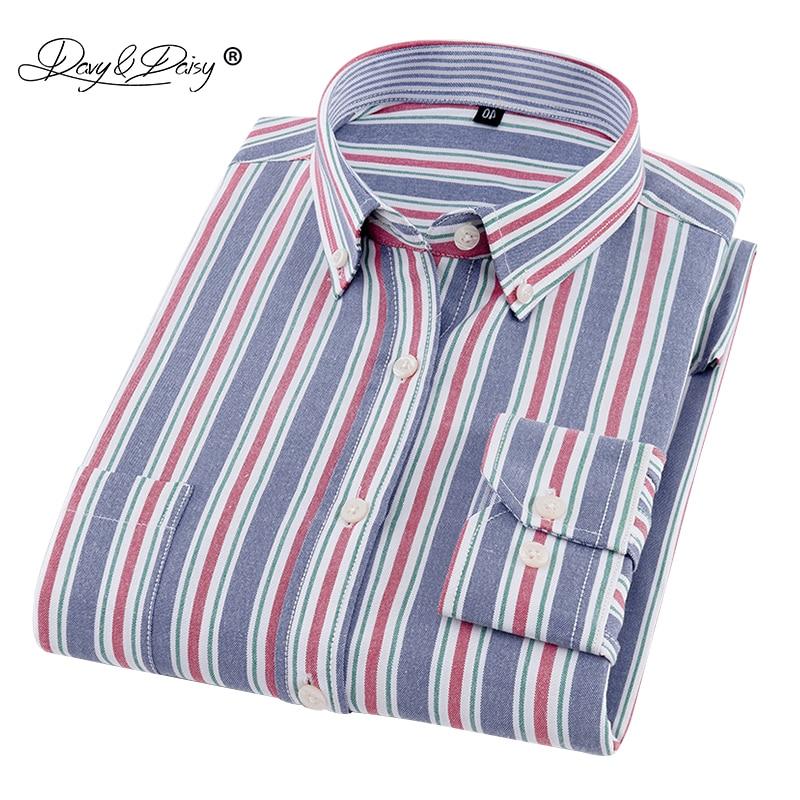 600dfecad44fa DAVYDAISY 2019 New Arrival Fashion Oxford Men's Shirt Solid Print Plaid  Long Sleeved Man Formal ...