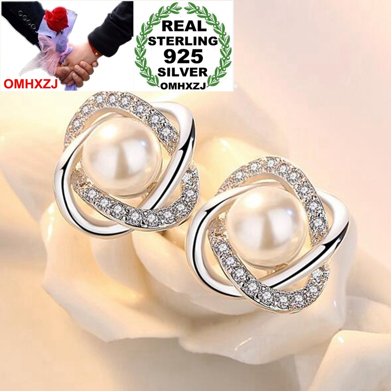 OMHXZJ Stud-Earrings Pearl 925-Sterling-Silver Fashion For Woman Lady Wedding-Gift Intertwined