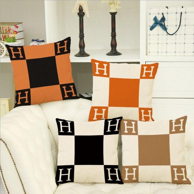 45 cm * 45 cm Lettere H e geometrica patternscushion copertina in lino/divano in