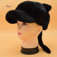 2017 Recién Llegado de Adultos Novedad Animal Nuevo de Las Mujeres de Piel de Piel Real sombrero Genuino Todo El Invierno Gorros Sombreros Gorras Mujer Rusa Para Los Oídos