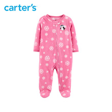 1pcs Cute Penguin embroidered zipper babysuit Carter s baby girl fall winter clothing 115G603