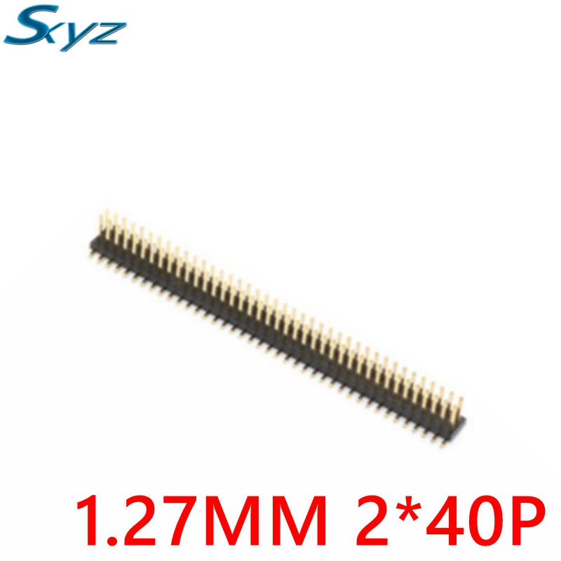 10pcs Smt Double Pin Header Gold- plated Connectors Gold Plating 2x40 Row 1.27 Breakable 40 Pins Golden Strip Board Module DIY 10pcs gold plated pitch 2 54mm 1x40 pin 40 pin double row smt smd male pin header strip connector