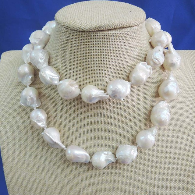53fc6cb81f87 Collar largo de perlas barrocas de agua dulce natural 100%-perlas grandes