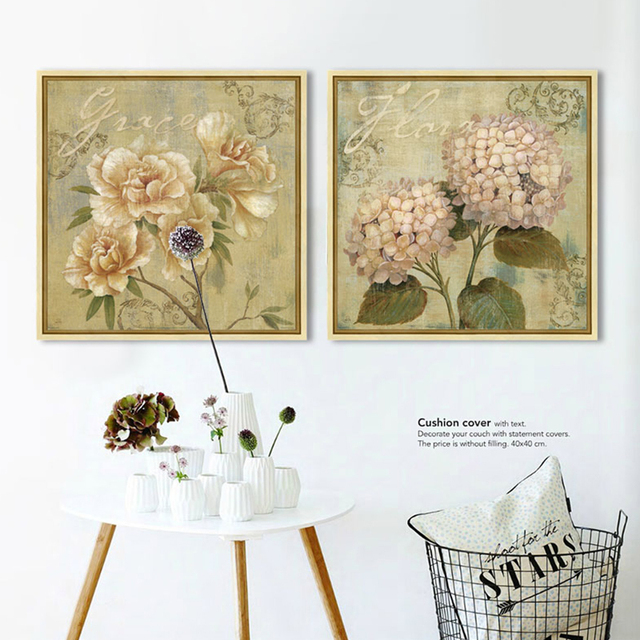 Vintage Hydrangea Canvas Prints Painting For Home Decor Living Room Bedroom  Office For Living Room Canvas