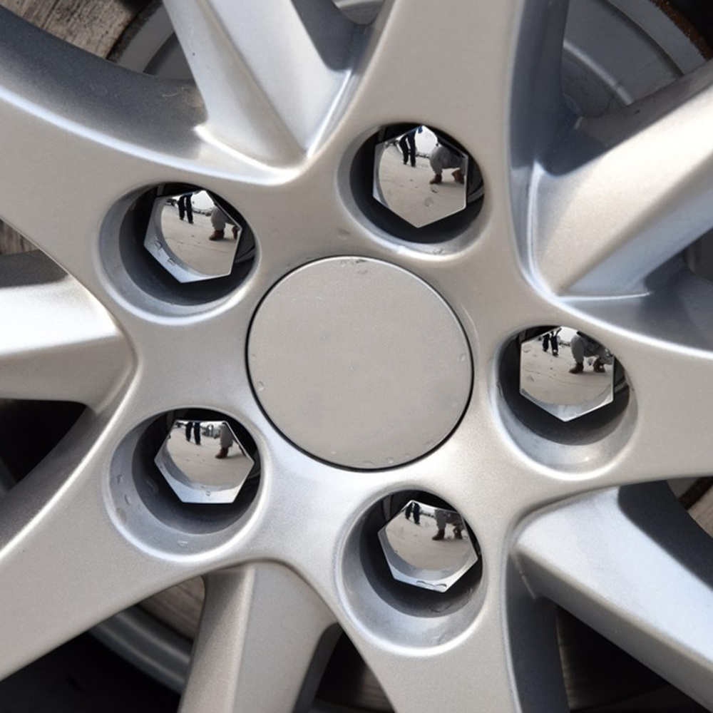Hamimelon 20 Pieces Chrome Silver Wheel Nut Cap Universal 19mm Tyre Nut Covers with Removal Tool Set for Cars