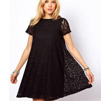 2017 New Women Hollow Out Lace Sexy Dress Girl A-Line Short Sleeves Dress Female Kaleidoscope Style Dress Summer