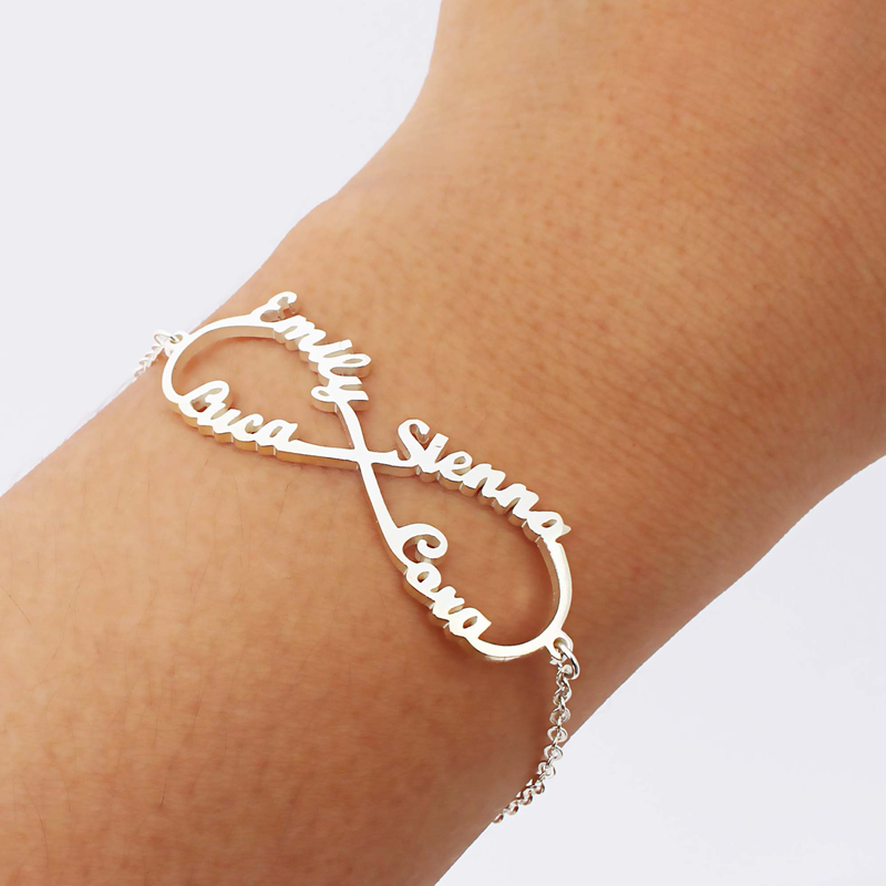 Nome de Aço inoxidável Infinito Pulseira Femme Cor Prata Jóias Personalizadas Placa de Identificação Personalizado Coração Infinito Charm Bracelet