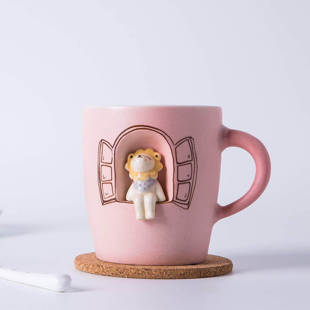 Creative handmade coffee mug cartoon animal sprouting lion mug mugs milk cup green tea milk coffee mugs Free shippi