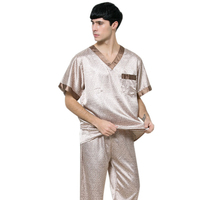 Mes Summer Pijama Hombre Plus Size Casual Pijama Masculino Short Satin Silk Pajamas Two Sets With