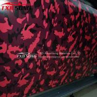 Small design Red black grey Camouflage Vinyl Roll Red Camouflage Wrap Vinyl Sticker Bubble Free with Size:1.50*30m/Roll