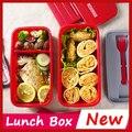 3 cor duplo japão Bento lancheira para crianças lancheira recipiente de alimento térmica Bento Box Sushi Container louça marmita
