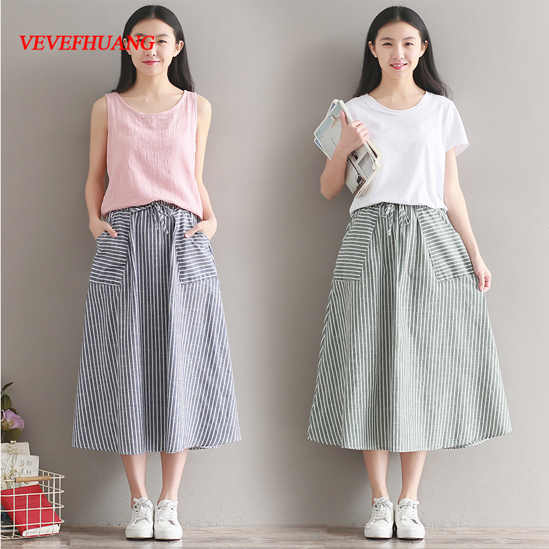 New Summer Women Skirt with Pockets Japanese Mori Girl Blue/Green Stripe Cotton and Linen Long Vintage Skirts