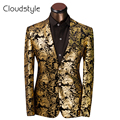 2017 Brand Clothing Royal Prom Dresses Suits Men Costume Homme Golden Floral Pattern Suit Jacket Men Slim Fit Blazer Size XS-6XL