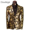 2017 Roupas de Marca Real do baile de Finalistas Vestidos de Ternos Homens Traje Homme ouro Padrão Floral Suit Jacket Men Slim Fit Blazer Tamanho XS-6XL