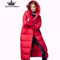 2018 Double Breasted winter women jacket X longer Solid color simple warm duck down jacket with hood long sleeve outwear