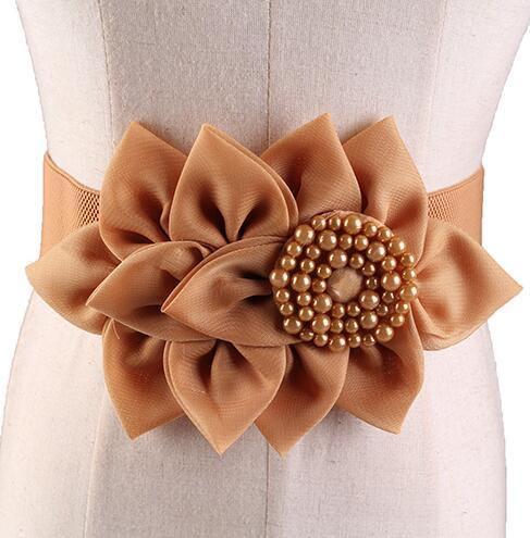 Women's Runway Fashion Beaded Elastic Flower Cummerbunds Female Dress Corsets Waistband Belts Bow Decoration Wide Belt R1003