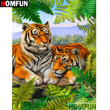 HOMFUN Full Square/Round Drill 5D DIY Diamond Painting Animal tiger Embroidery Cross Stitch Home Decor Gift A16396
