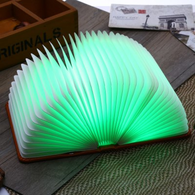 USB Rechargeable LED Book Shaped Night Light Foldable Book Ornament Lamp for Bedside ...