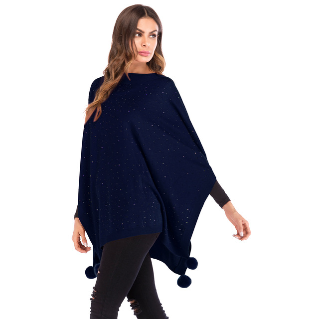 3673ecf6a50 Batwing Sleeve Knitted Pullover Sweater Autumn Winter Three Quarter Sleeved  Sequin Ponchos and Capes Sweater with