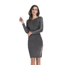 Autumn Winter Dress Sexy O Neck Bodycon Solid Knitted Vest Dress Women Long Sleeve Dress Sheath Button Mini Solid Dress