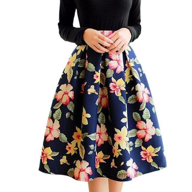 Vintage impresión floral faldas largas de alta cintura plisada falda de midi de las mujeres de pata de gallo 2016 del estilo del verano