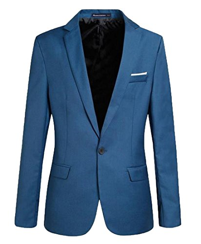 Abetteric Mens Notch Lapel Patch Pure Color Single Button Blazer