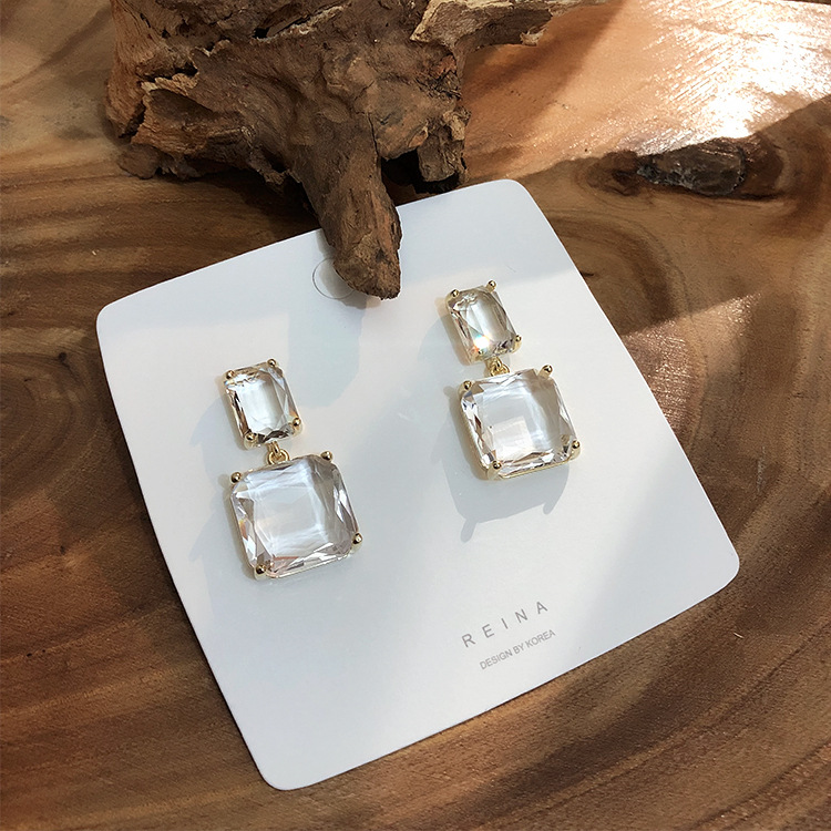 HTB1utM7XbY1gK0jSZTEq6xDQVXa8 - Korean New Design Fashion Jewelry Double Square Earrings Luxury Transparent Glass Crystal Party Earrings for women gift