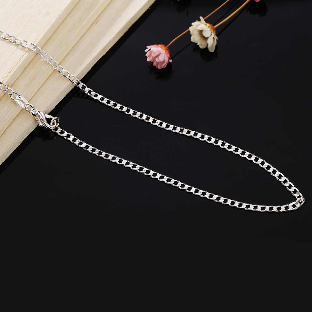 5 قطعة/الوحدة الفضة النقية القلائد للرجال النساء 2 مللي متر ربط سلسلة قلادة 16-30 بوصة طويلة كولير المختنق مجوهرات الأزياء بيجو هدايا