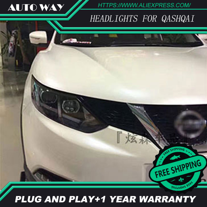 Free shipping ! Car styling LED HID Rio LED headlights Head Lamp case for Nissan QASHQAI 2016 Bi-Xenon Lens low beam