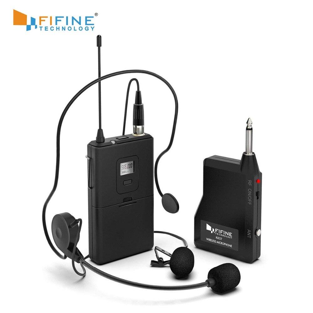 Fifine 20-Canal UHF1/4 Polegada Saída microfone de lapela microfone headset K037B