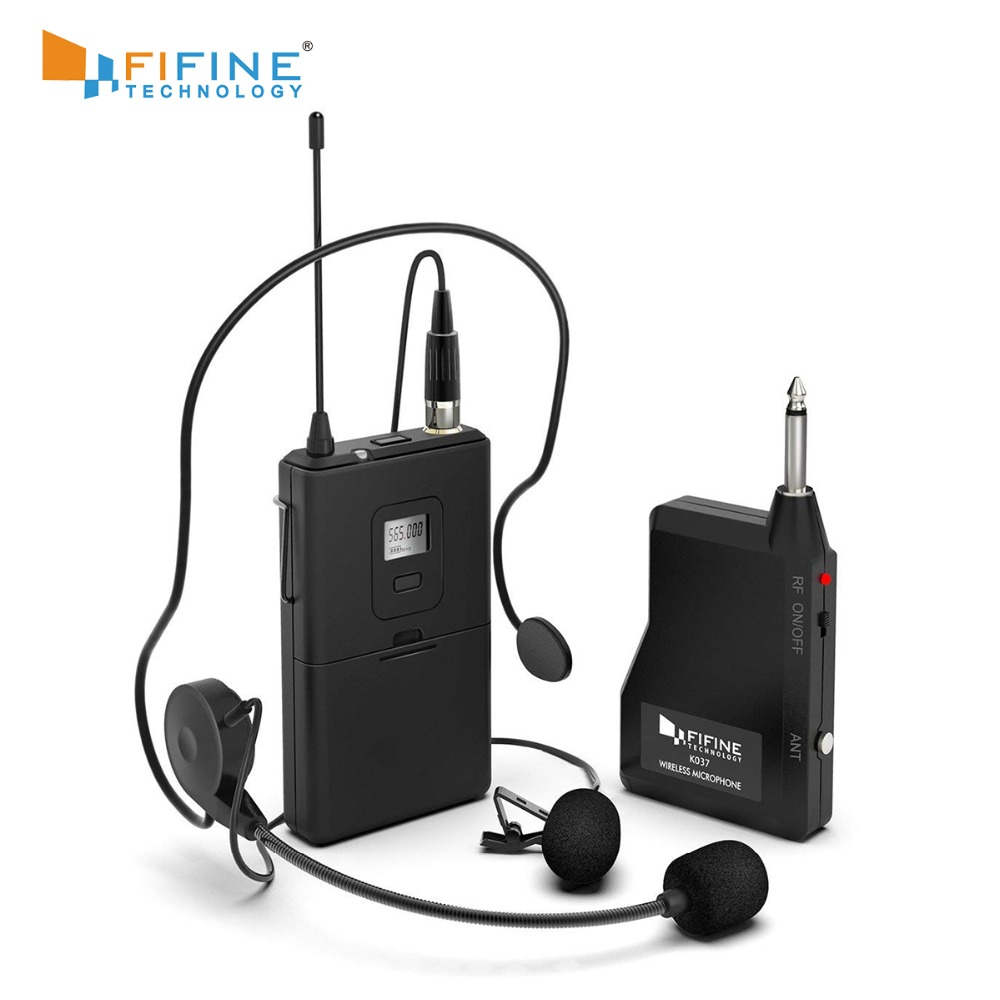 Fifine 20-Channel UHF1/4 Inch Output Lavalier Microphone Headset Microphone K037B