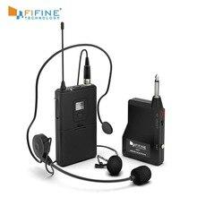Fifine 20 channel uhf1/4 microphone microphone Polegada saída microfone sem fio com lavalier & fone de ouvido mic terno para alto falante câmera do telefone celular k037b