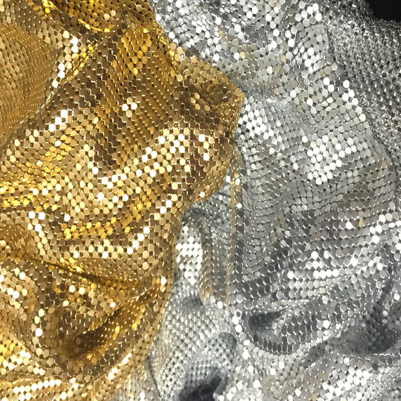 Metal Mesh Fabric Metalic Sequin Fabric Curtain Sequined Curtains Square Silver Black Golden