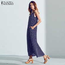 6 Colors Sexy Summer Dresses 2017 ZANZEA Women Strapless Polka Dot Casual Long Maxi Dress Leisure Beach Loose Vestidos Plus Size